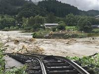 大分で女性1人不明、鉄橋流失 6万人超に避難指示