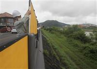 「畳堤」PR 兵庫・たつの市の揖保川堤防にパネル