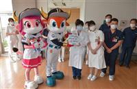 オリックスの球団マスコットが提携病院を表敬訪問 球場のコロナ対策をサポート