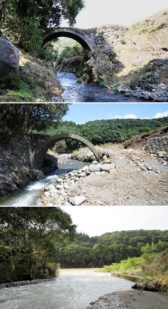 24年豪雨で一部被災の文化財の石橋が流失 大分