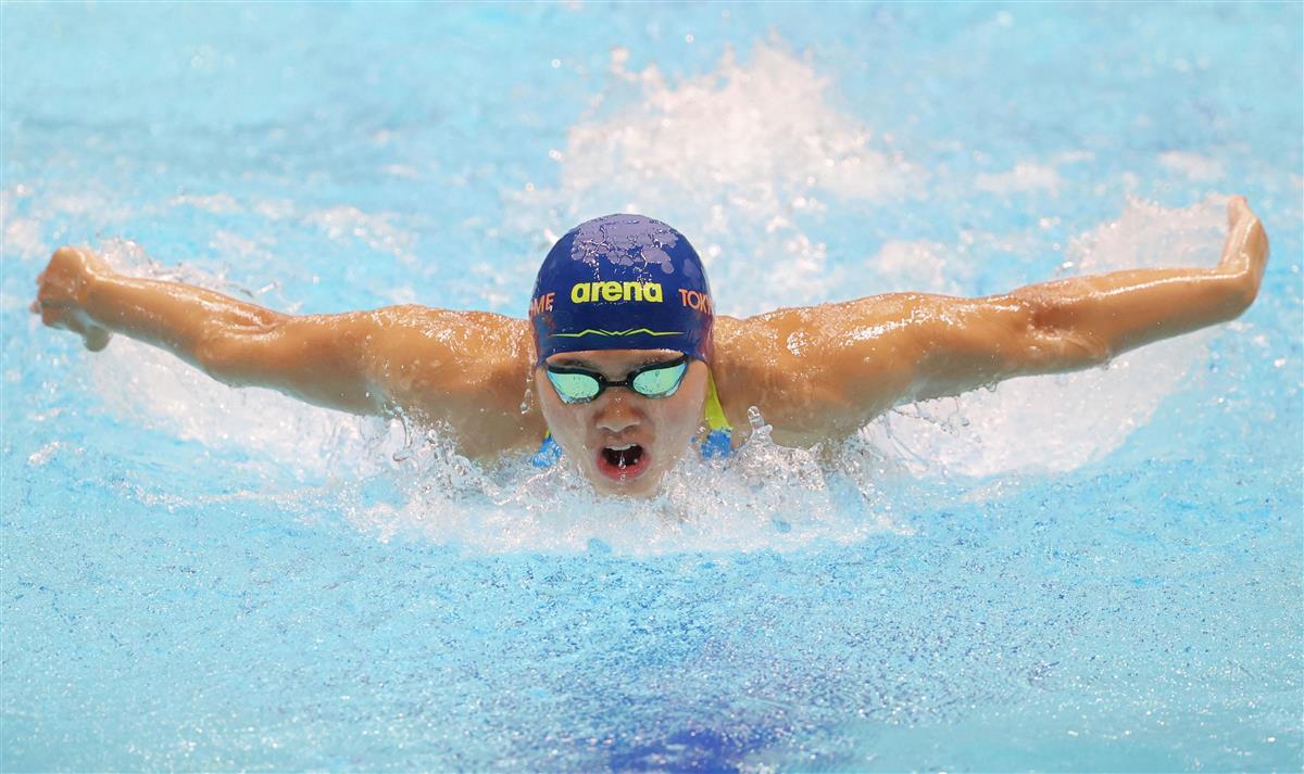 女子200メートルバタフライ 2分5秒62で1位となった長谷川涼香=東京辰巳国際水泳場(代表撮影)