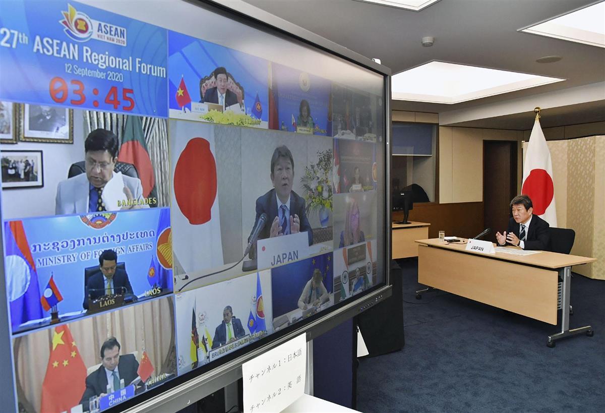 オンライン形式で開かれたASEAN地域フォーラムの閣僚会議で発言する茂木外相=12日午前、外務省(同省提供)