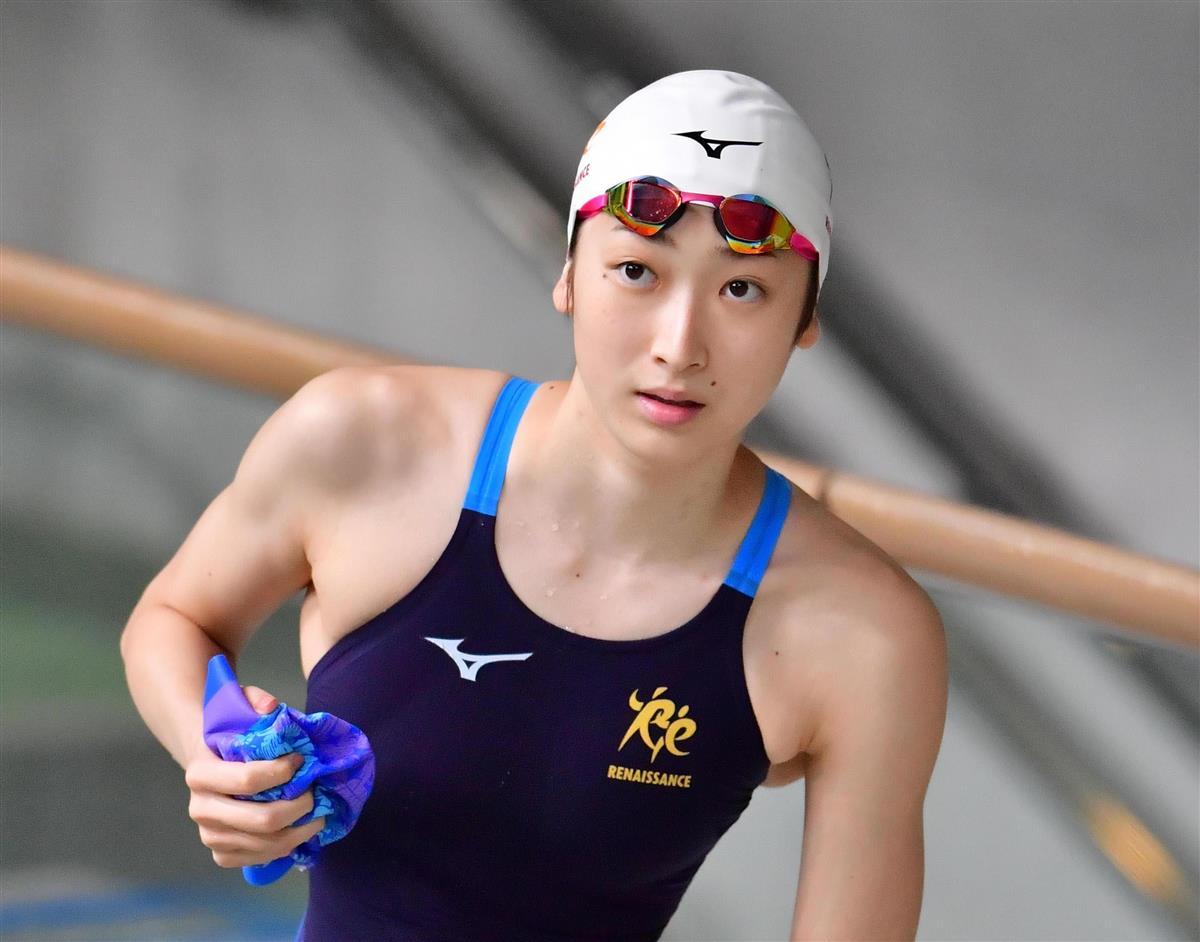 女子50メートル自由形に臨む池江璃花子=8月29日、東京辰巳国際水泳場(代表撮影)