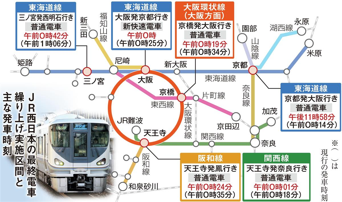 JR西、48本の電車を削減 終電繰り上げで