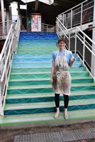 階段アートで街に元気を 洲本・赤レンガ建物 英出身アーティスト描く