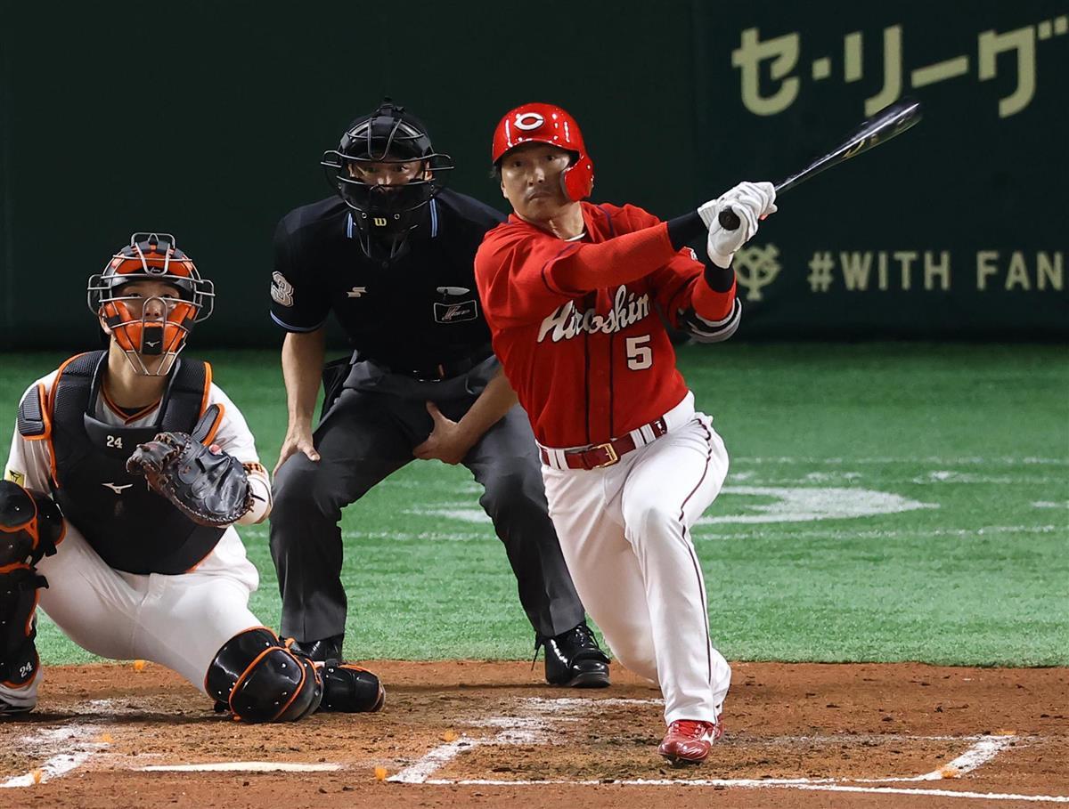 広島の長野、12球団本塁打 プロ野球39人目
