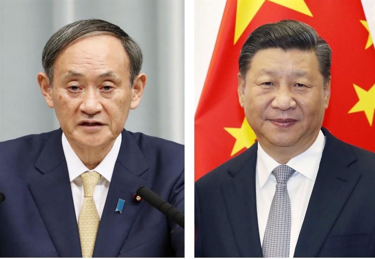 (左から)菅義偉首相、中国の習近平国家主席