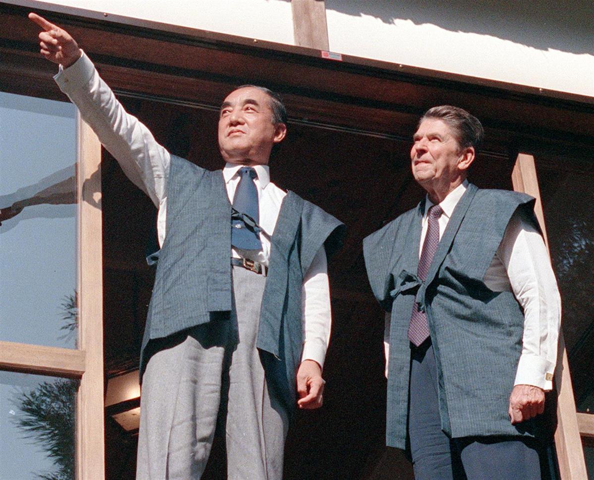昭和58年11月、日の出山荘にレーガン大統領を招待した中曽根康弘首相=東京都日の出町