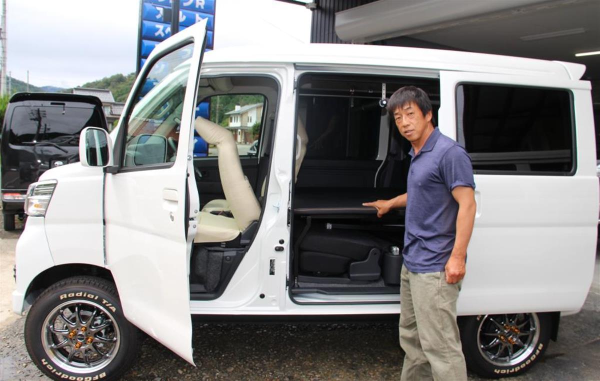 車中泊仕様の軽バン考案 但東自動車「広めたい」 豊岡
