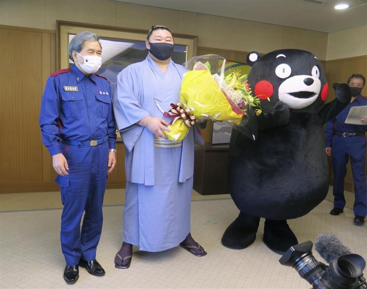 くまモンも祝福 大関正代V報告「存在感示す」 熊本