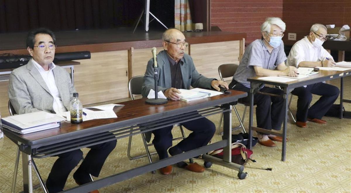 記者会見する水俣病被害者・支援者連絡会のメンバー