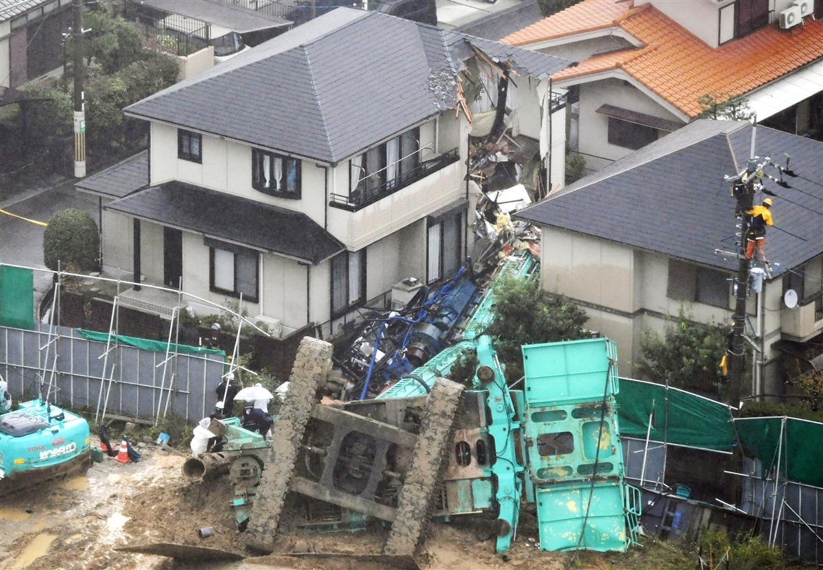 【動画あり】工事現場の重機倒れ民家直撃 従業員が負傷