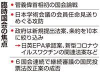 臨時国会26日召集 菅首相初の国会論戦 学術会議人事も焦点に