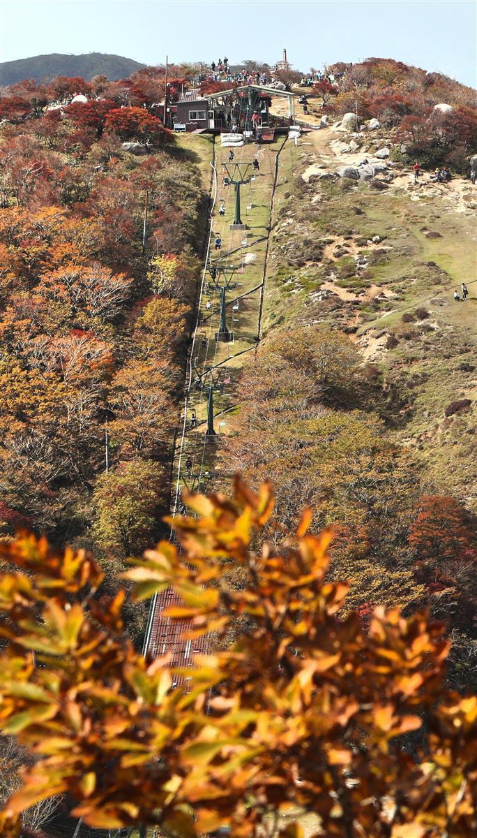 三重、滋賀県境の御在所岳で紅葉が見ごろ