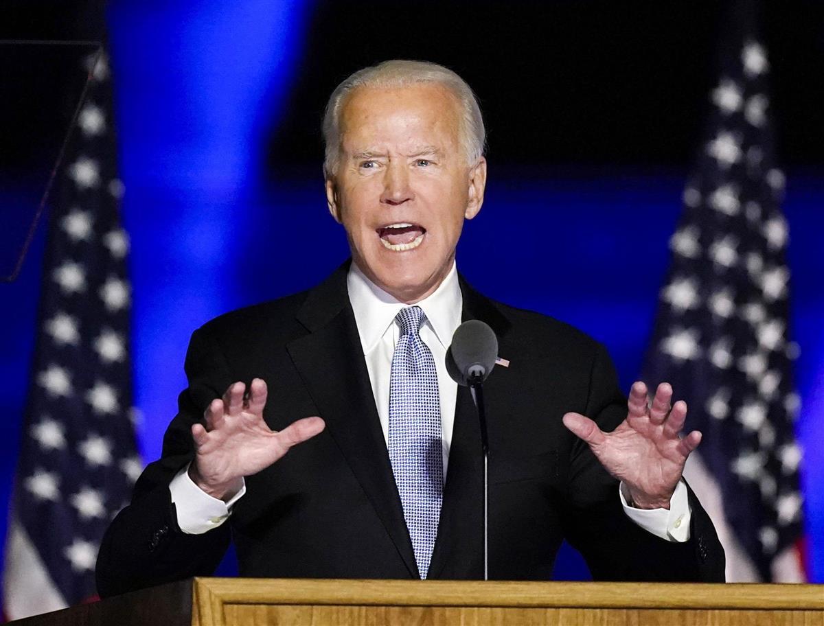 米デラウェア州ウィルミントンで勝利宣言する、民主党のバイデン前副大統領=7日(AP)