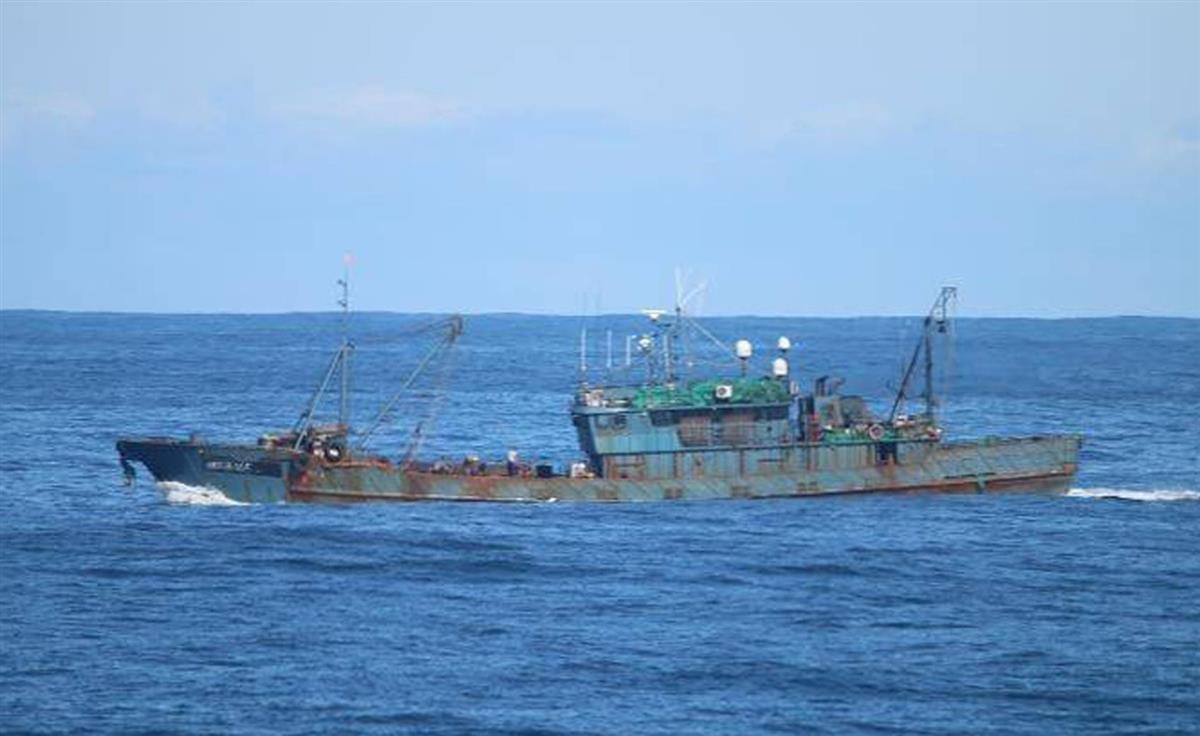 日本海沖の大和堆周辺で、違法操業する中国漁船=9月(水産庁提供)