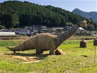 農村に映える恐竜アート 動物園にはゾウとクマが登場