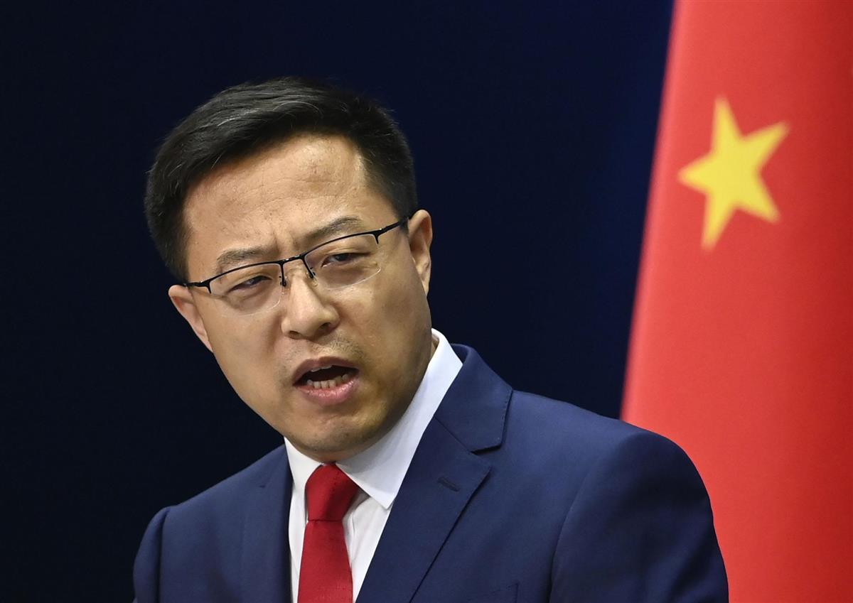 中国外務省の趙立堅報道官=北京(共同)