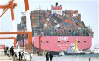 【動画】コンテナ崩れた船が着岸、神戸・六甲アイランド