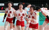 東九州龍谷、エース室岡が本領 2連覇へまず4強入り 春高バレー