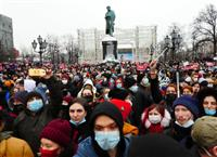 ナワリヌイ氏の釈放求め露全国でデモ数万人参加 政権側、参加者を1300人以上拘束