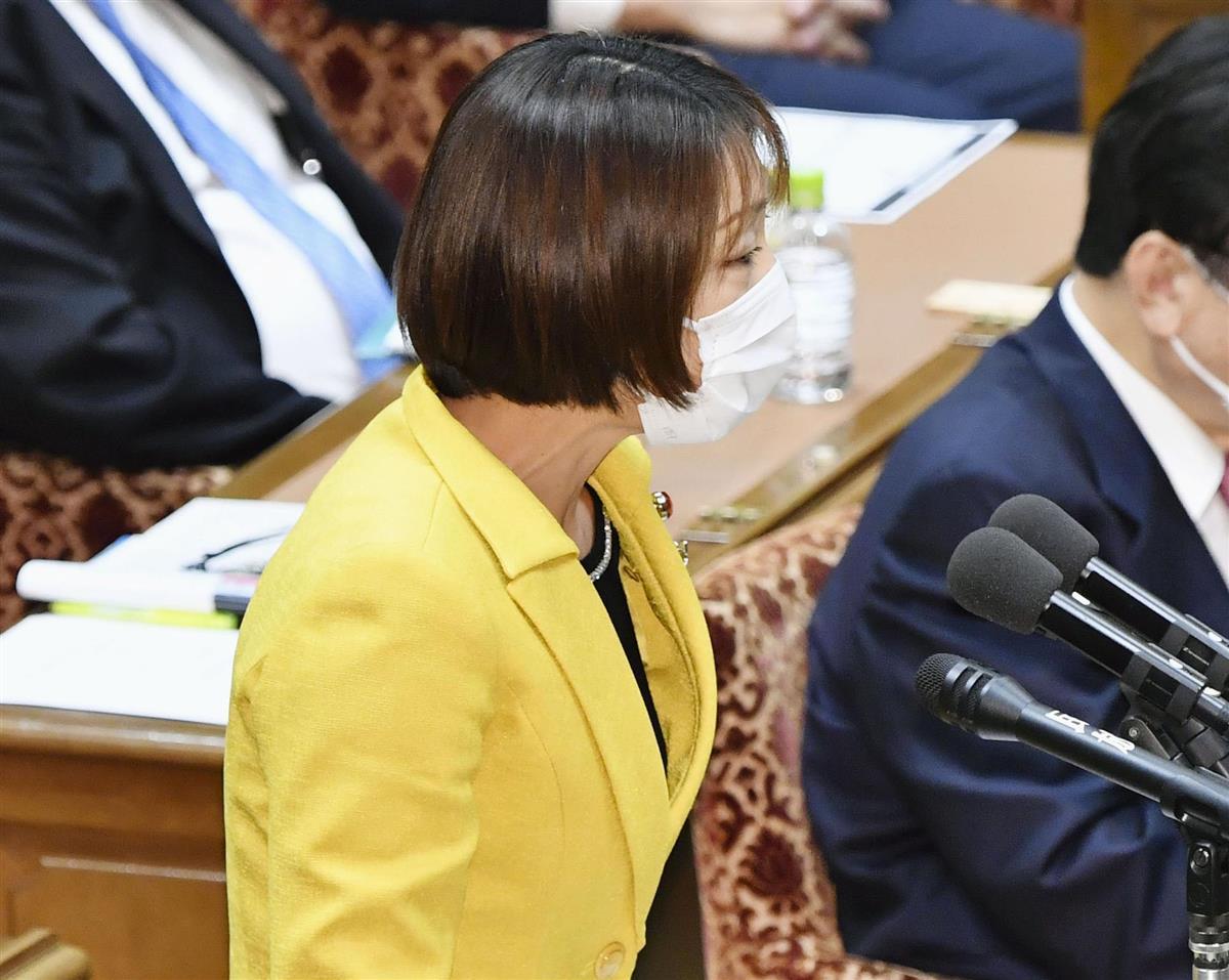 衆院予算委で質問する菊田真紀子氏(立憲民主・無所属)