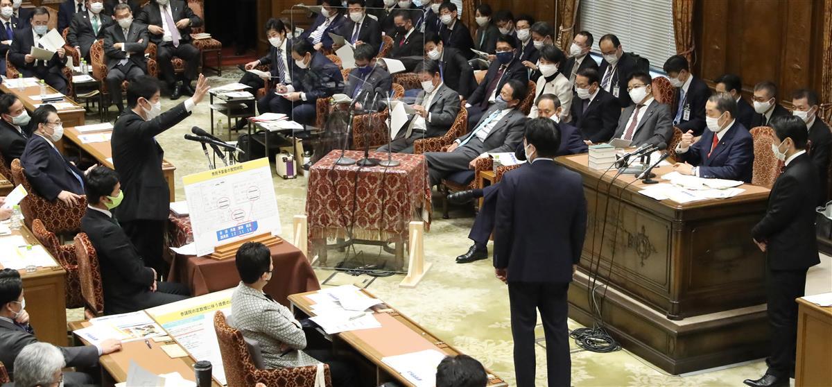 衆院予算委員会で日本維新の会より人数が少ない会派のほうが質問時間長いことを質問する足立康史氏=5日午後、国会・衆院第1委員室(春名中撮影)