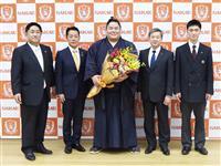 初V大栄翔「とても幸せ」 母校に報告、米差し入れへ