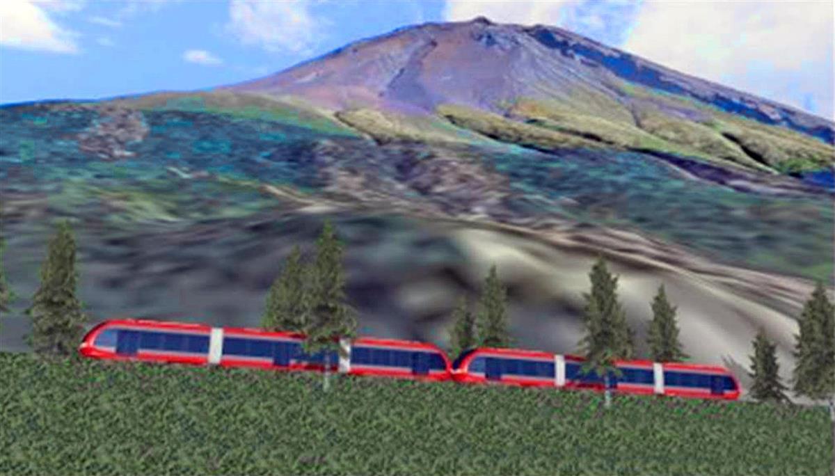 富士山登山鉄道構想のイメージ図(山梨県提供)