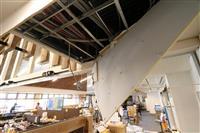 震度6強の福島・国見町 道の駅 の天井損壊、商品散乱「いつ再開できるのか」