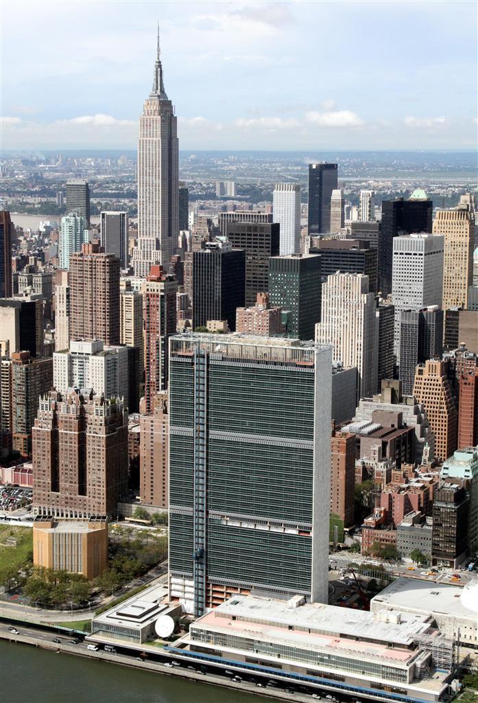 国際連合(UN)本部=米ニューヨーク(本社チャーターヘリから)