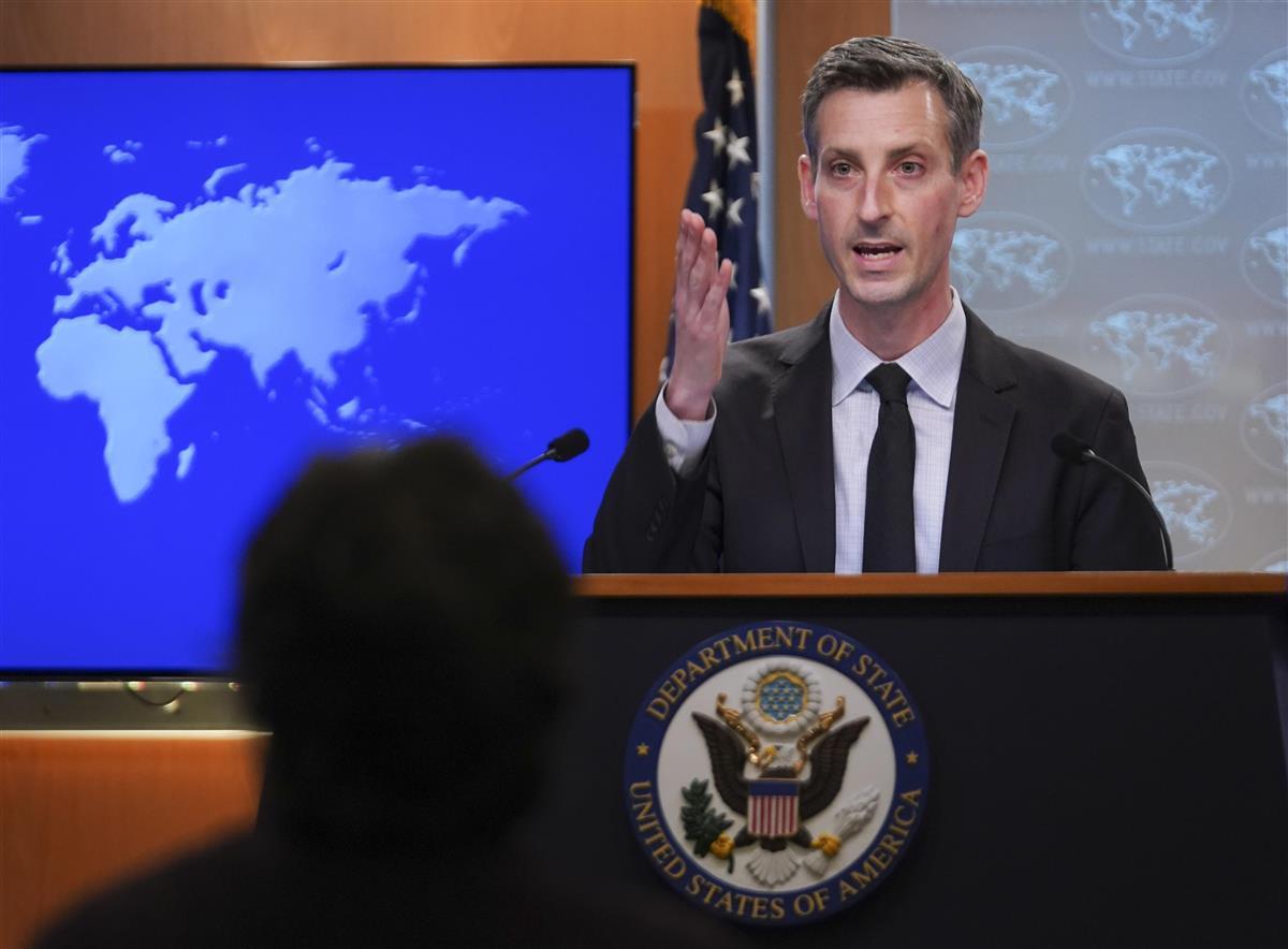 米国務省のプライス報道官=17日、ワシントン(AP)