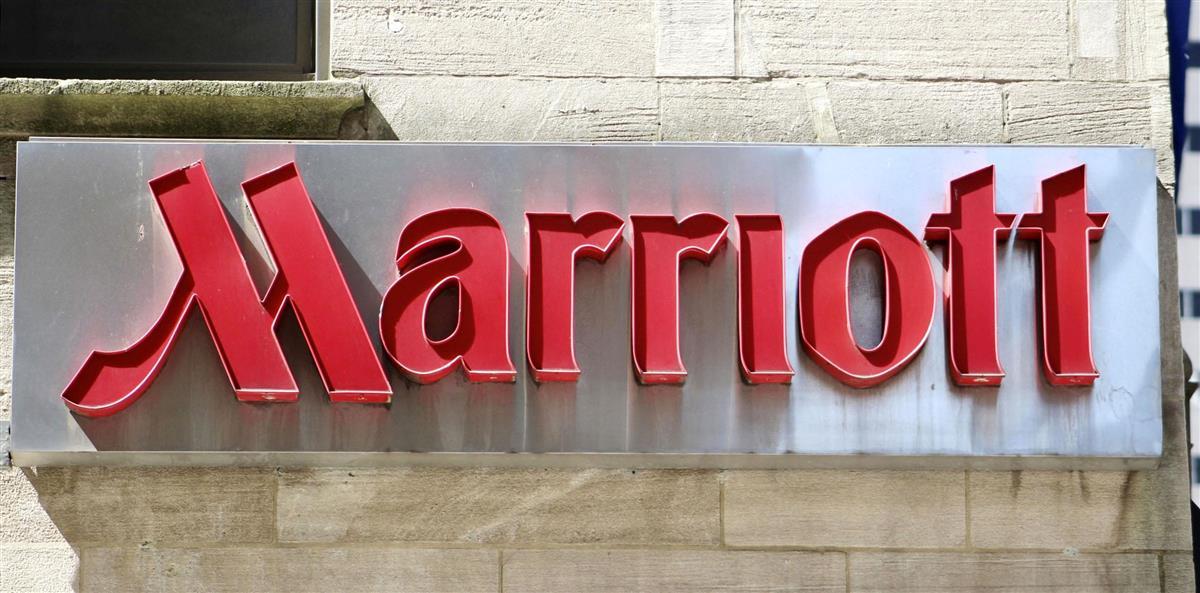 米マリオット・インターナショナルのホテルのロゴ=2020年6月、ニューヨーク(共同)