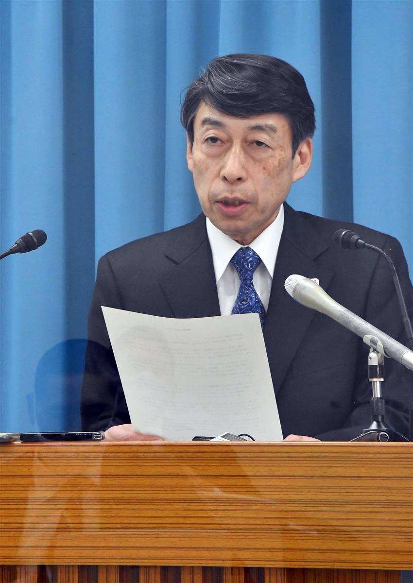 小川洋知事の辞職について発表する服部誠太郎副知事