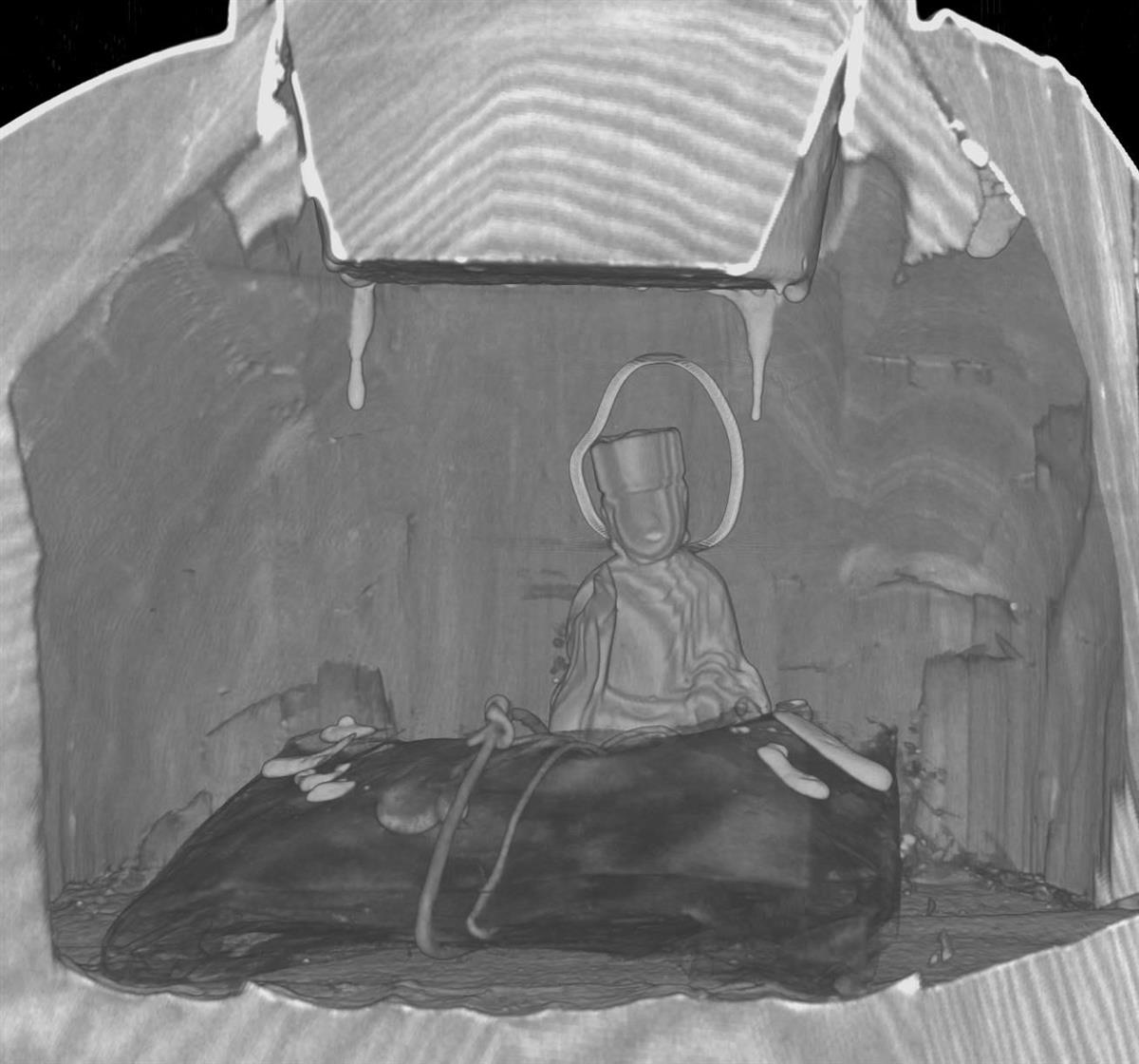 聖徳太子立像胸部のCT画像。菩薩半跏像が確認された