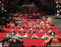 石段118段にずらりひな人形 静岡・東伊豆町の素盞嗚神社 毎日飾って片付け