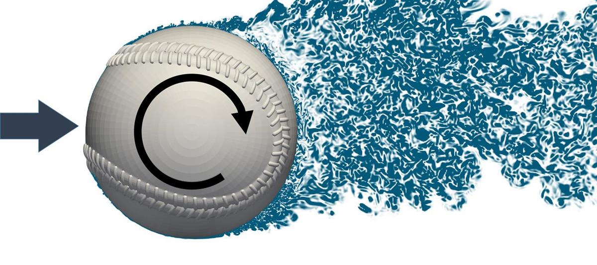 回転する野球のボールに「負のマグヌス効果」が起きている様子のシミュレーション画像(青木尊之教授提供)