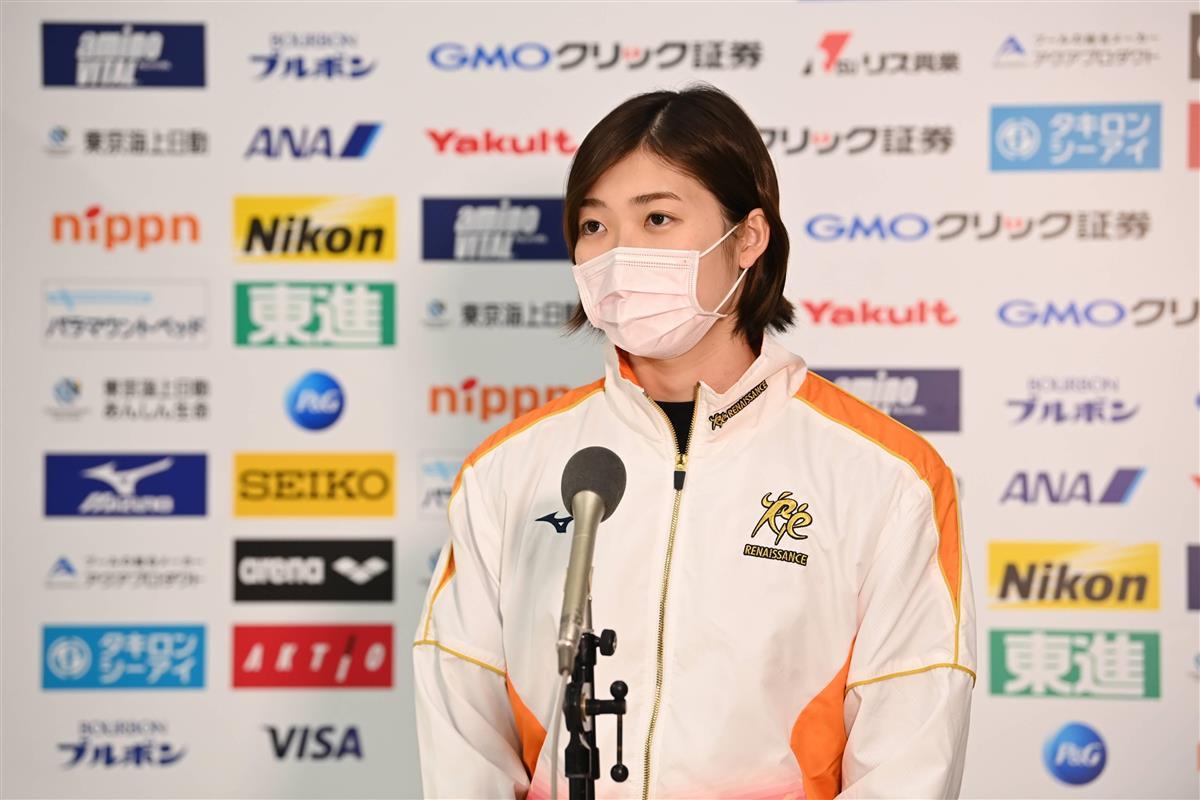 東京ACで取材に応じた競泳女子の池江璃花子