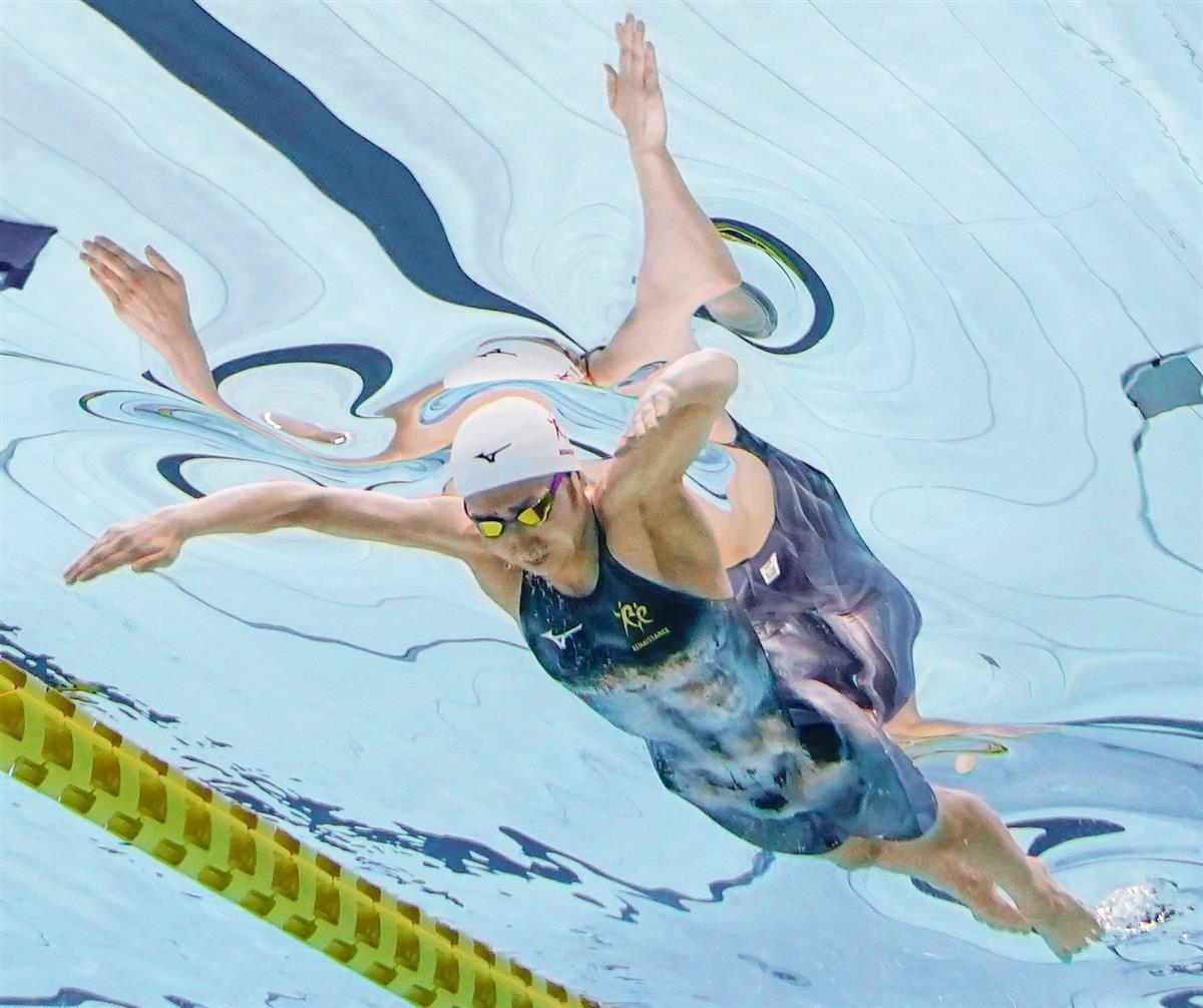 女子50メートルバタフライ決勝 優勝した池江璃花子=東京アクアティクスセンター