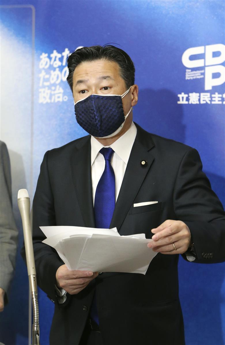 国会内で記者団の取材に応じる立憲民主党の福山幹事長=13日午前