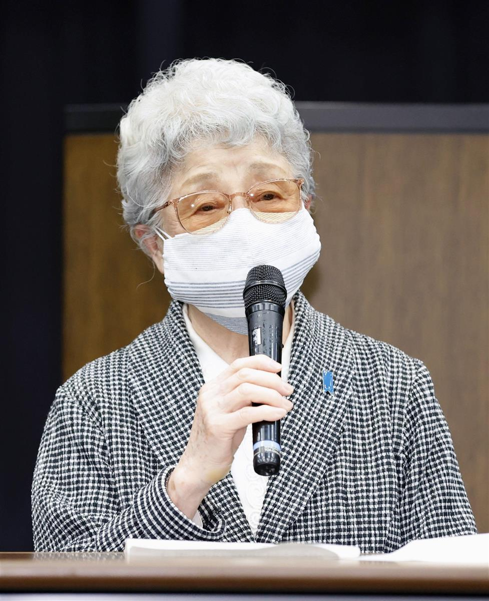 菅首相との面会後、記者会見する横田早紀江さん=7日午後、国会