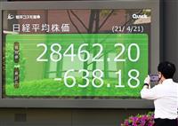 東証終値2万9千円割れ コロナ緊急宣言を懸念