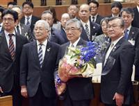 震災対応の宮城・石巻市長が退任、「苦難乗り越えた職員に感謝」
