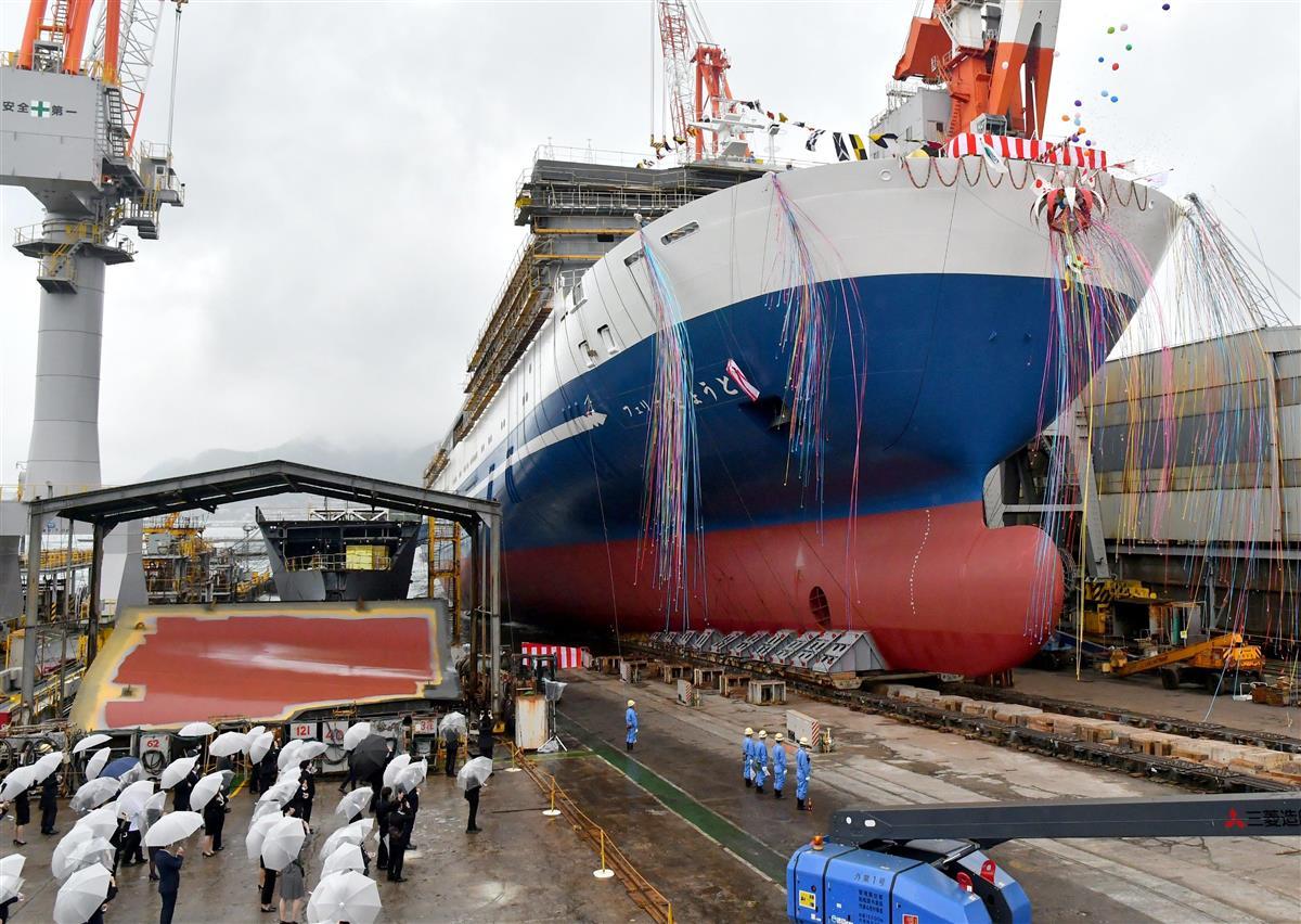 名門大洋フェリーの新船が進水式 コロナで客室の個室化が加速