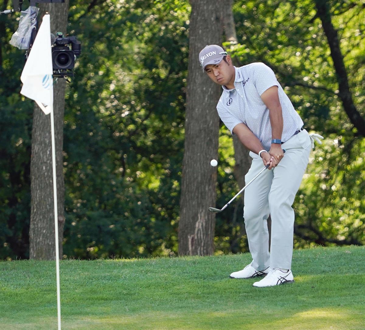 マスターズV以来の実戦、松山は54位 米男子ゴルフ第1日