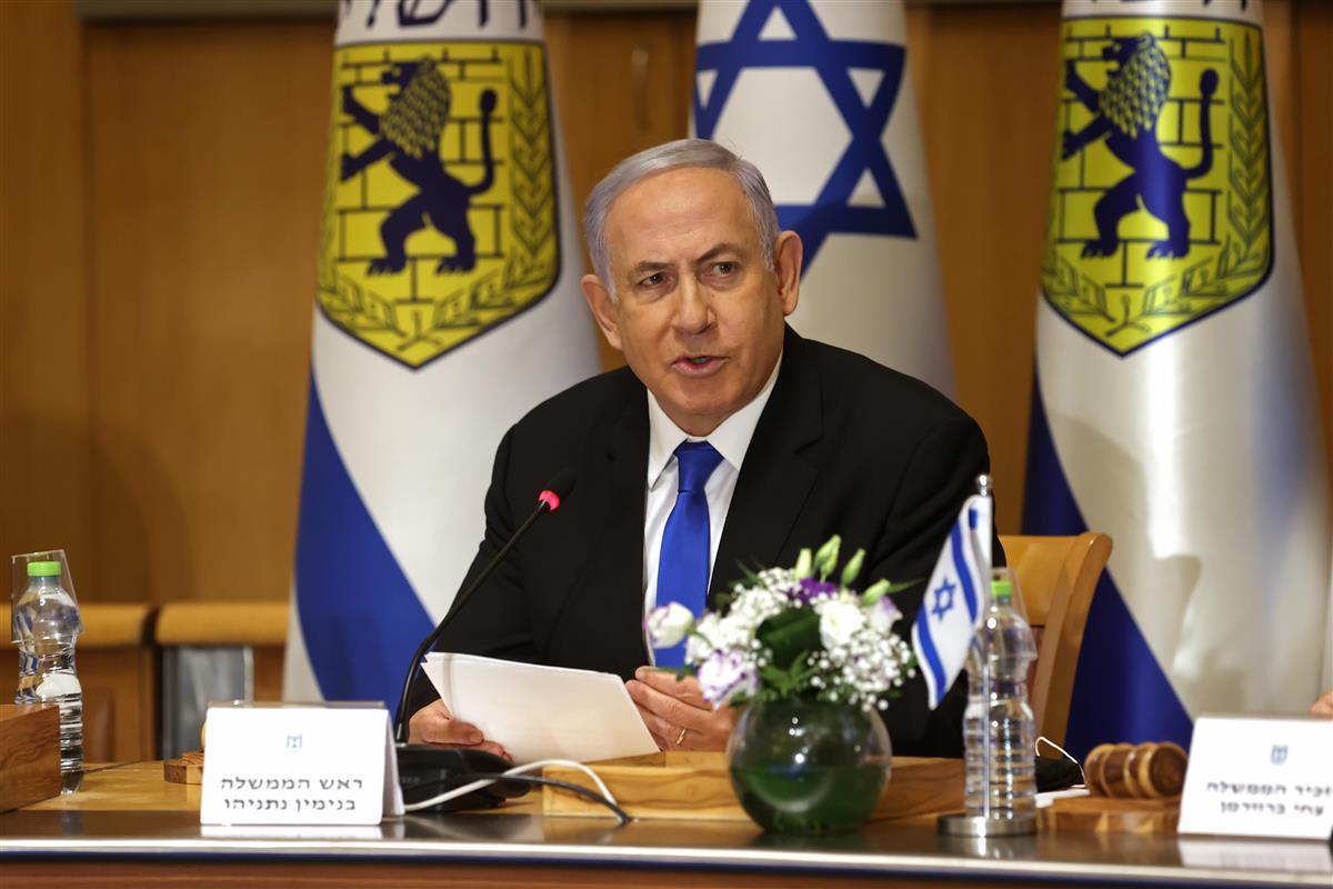 イスラエルのネタニヤフ首相=9日、エルサレム(AP)