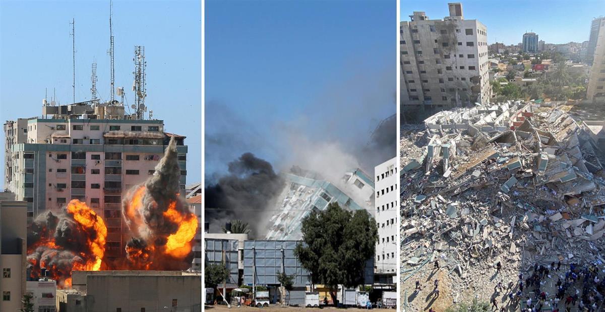 イスラエル軍による15日の空爆で黒煙をあげ倒壊するアルジャジーラなどが入居する高層ビル(いずれもロイター)