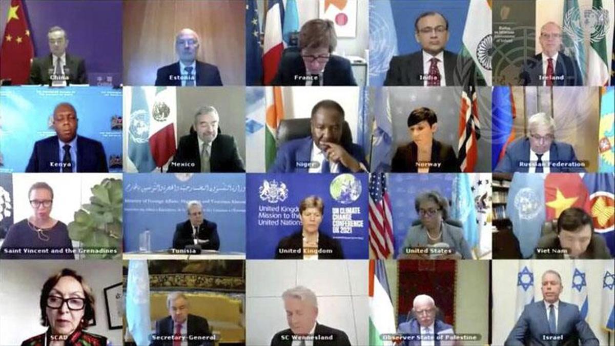 16日、イスラエルとパレスチナの衝突について協議する国連安全保障理事会の会合(国連提供・共同)