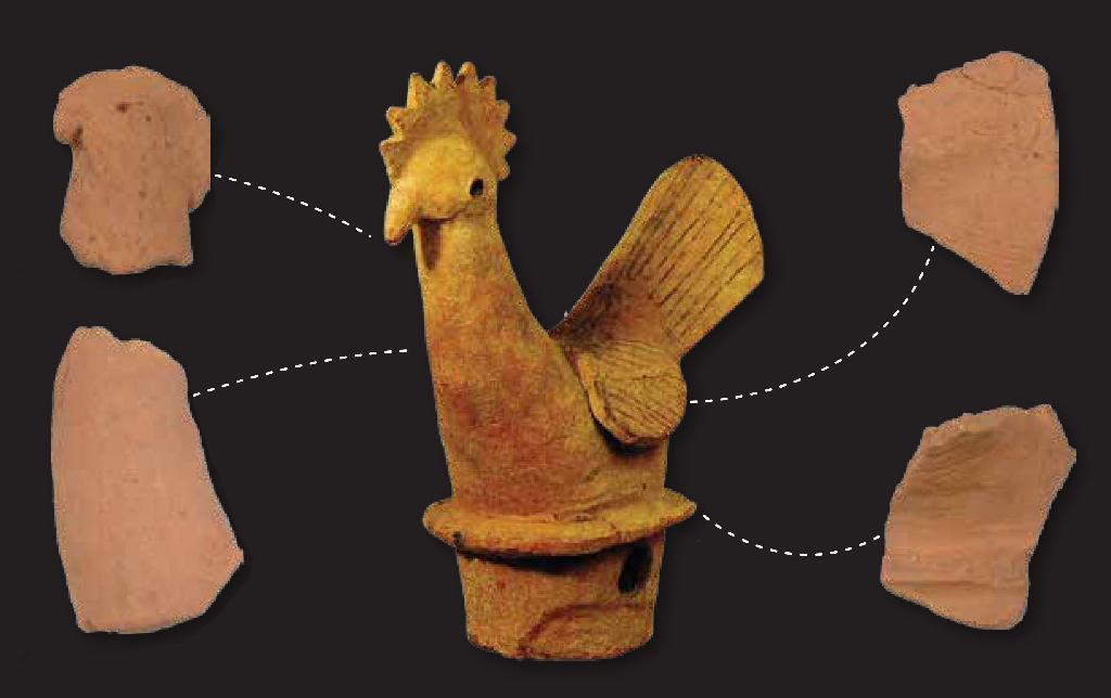 韓国・全羅南道咸平の金山里方台形古墳で出土した形象埴輪の破片(左右の4点... 韓国・全羅南道咸