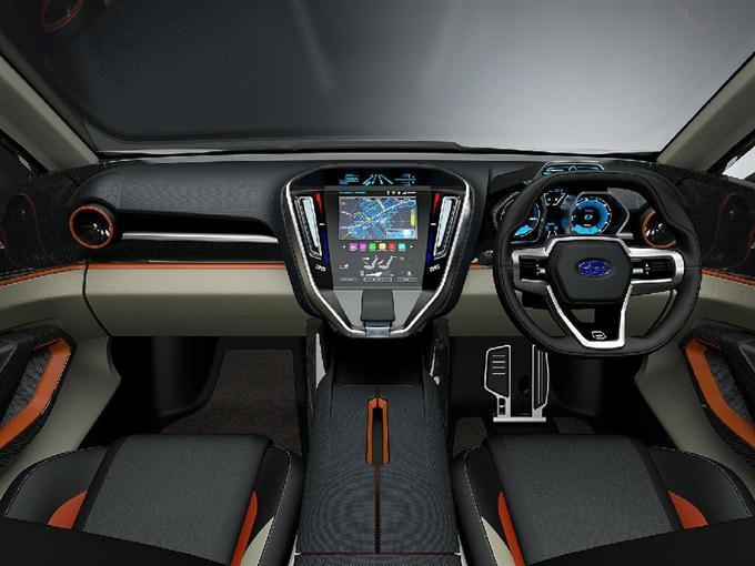 富士重工業の試作車「スバル ヴィジヴ フューチャー コンセプト」の車内
